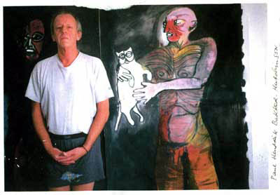Paul in front of 'Man with Cat' painting